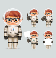Boy space sci-fi cosmonaut realistic 3d cartoon vector