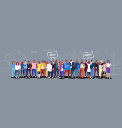 businesspeople group holding protest placard vector image