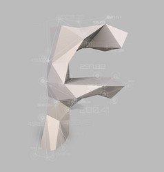 Capital latin letter f in low poly style vector