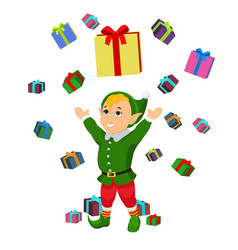 cartoon christmas elf falling boxes gifts vector image