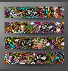 Cartoon colorful doodles design banners vector