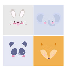 cartoon cute animals characters faces collection vector image