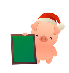 cartoon cute pig with message board isolated vector image