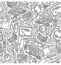 cartoon hand-drawn back to school seamless pattern vector image