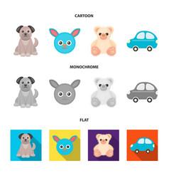 Children toy cartoonflatmonochrome icons in set vector