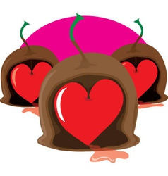 Chocolate cherry heart vector
