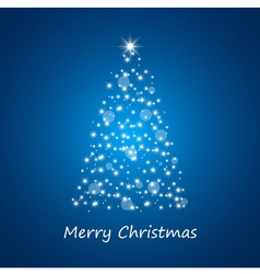 Christmas tree from stars on blue background vector