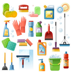 Cleaning supplies tools flat icons set vector