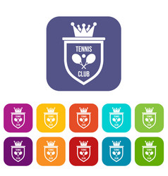 Coat of arms of tennis club icons set vector