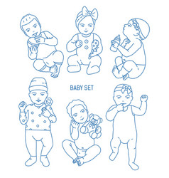Collection infant children or babies dressed in vector