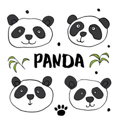 Cute panda bear doodles set cute animals sketch vector