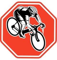 Cyclist racing bike set inside octagon vector image