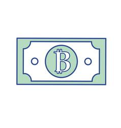 Digital bitcoin bill and electronic financial vector