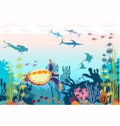 Dive turtle corals fish vector