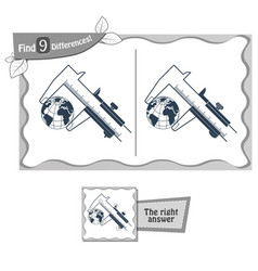 find 9 differences game dimension world vector image