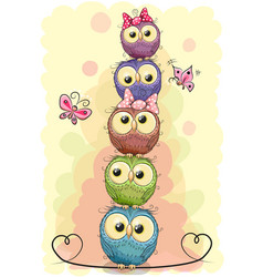 five cute owls on a yellow background vector image
