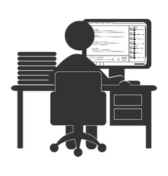 flat office computer icon with chat isolated vector image
