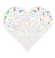 gears fireworks heart vector image