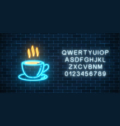 Glowing neon coffee cup icon with alphabet neon vector