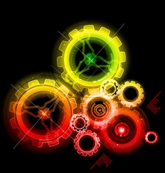 Glowing techno gears vector