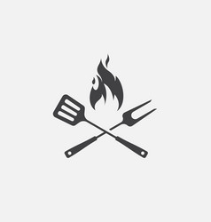 grill icon bbq icon fork and spatula vector image