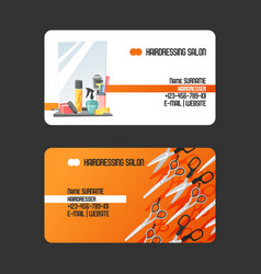 hairdressing salon business cards vector image