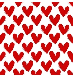 Hand-drawn painted red hearts seamless pattern vector