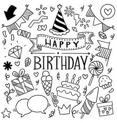 Hand drawn party doodle happy birthday vector