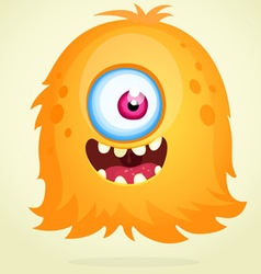 Happy cartoon orange monster character vector