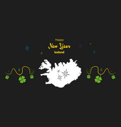 Happy new year theme with map of iceland vector