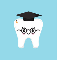 Happy wisdom tooth in glasses and black graduate vector
