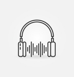 headphones with sound wave outline concept vector image