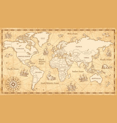 High detailed old world map with decorative vector