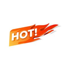 Hot fire sign promotion fire banner price tag vector
