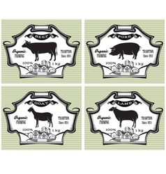 icons on vintage background pig cow sheep goat vector image