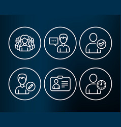 Id card identity confirmed and person talk icons vector