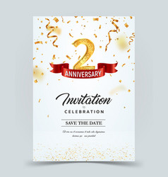 Invitation card template 2 years anniversary vector