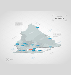Isometric nicaragua map with city names and vector