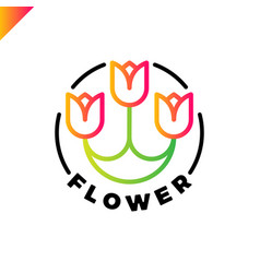 logo three flowers in line style in circle vector image