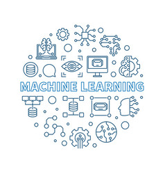 Machine learning concept blue round line vector