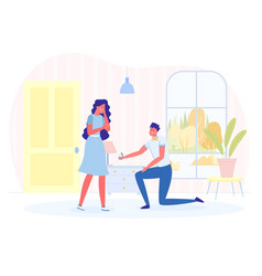 man making marriage proposal to woman in room vector image