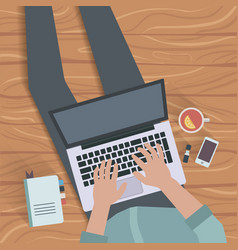 man sitting with laptop on wooden floor top vector image