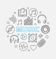 music round made with outline vector image
