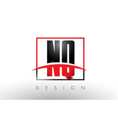 Nq n q logo letters with red and black colors vector
