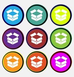 Open box icon sign Nine multi colored round vector image