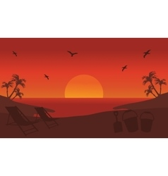 Orange backgrounds silhouette beach at summer vector image