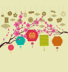 Oriental happy chinese new year 2018 blossom vector
