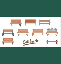 outdoor wooden benches isolated on white vector image