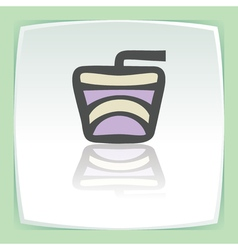 outline drink in a paper cup with a cocktail straw vector image