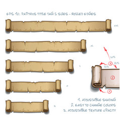 Papyrus tittle tag five sizes - rolled edges vector